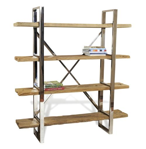 Hatcher Modern Rustic Reclaimed Wood Polished Silver Bookshelf | Kathy Kuo Home
