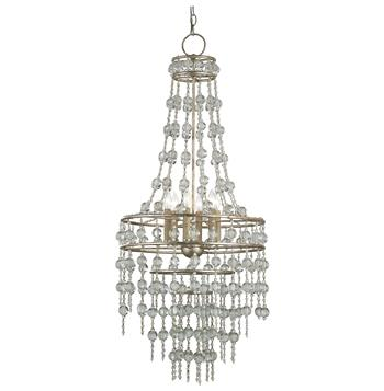 Havilland Hollywood Regency Crystal Beaded Cascade Glamorous 6 Light Chandelier