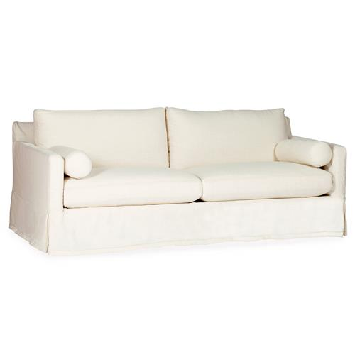 Hayes Modern Cottage Linen Skirted Banded Sofa