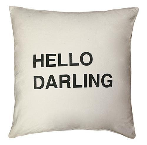Hello Darling Bold Script Linen Down Throw Pillow | Kathy Kuo Home