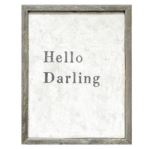 Hello Darling' Simplicity Vintage Reclaimed Wood Wall Art | Kathy Kuo Home