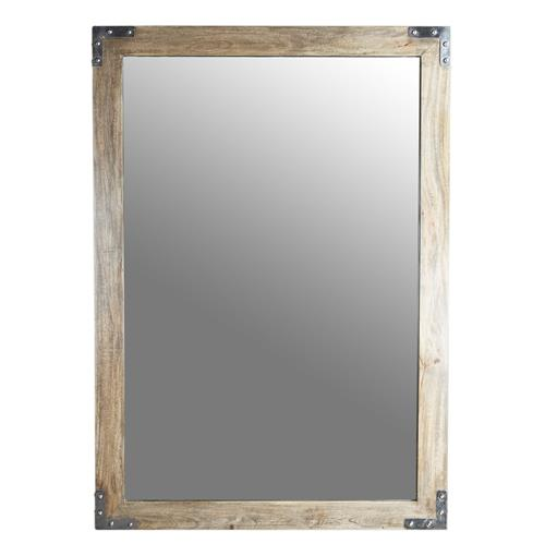 "Heritage French Gray Industrial Loft Wood Mirror- 60""H"