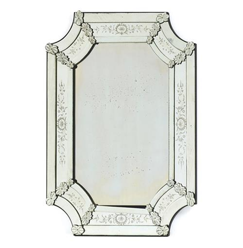 Hollywood Regency Antiqued Polished Ornate Venetian Mirror | Kathy Kuo Home