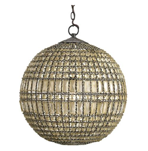 Hollywood Regency Crystal Orb Modern Pendant Lamp Kathy