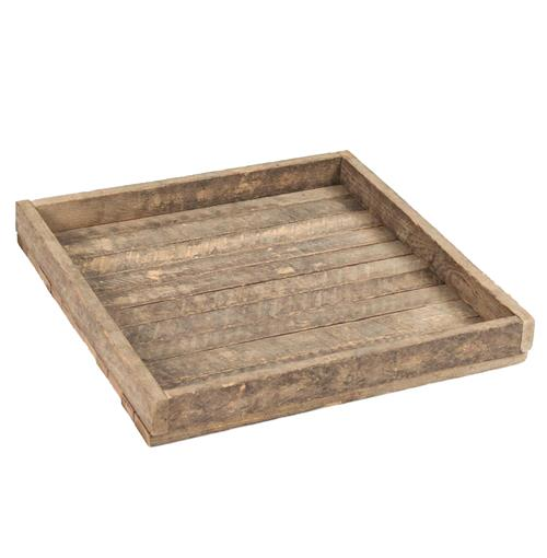 Homestead Rustic Lodge Reclaimed Wood Square Tray
