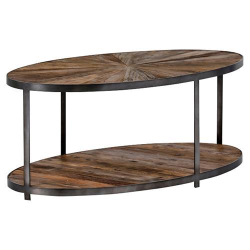 Howie Rustic Loft Barn Wood Burst Iron Coffee Table