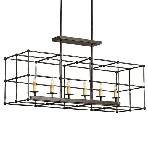 Industrial Architectural 6 Light Island Chandelier