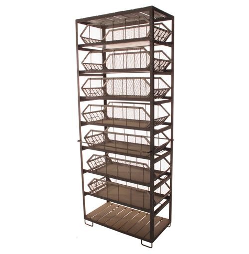 Industrial Loft Large Commissary Mesh Basket Storage Cabinet