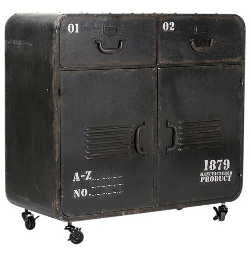Industrial Loft Military Style Old Iron Rolling Cabinet Locker Console