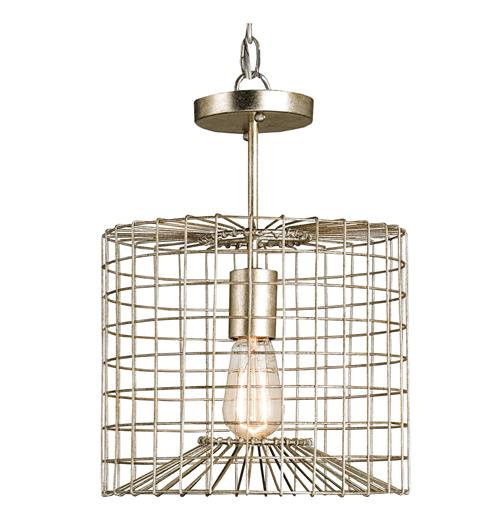 Industrial Loft Silver Leaf Iron Cage Semi Flush Mount Pendant