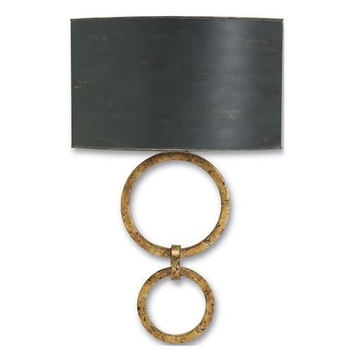 Infinity Double Circle Contemporary Gold Leaf Wall Sconce | Kathy Kuo Home