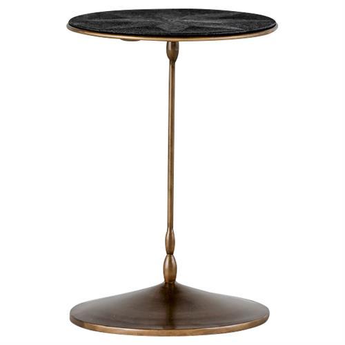 Irene Regency Black Faux Shagreen Brass End Table Kathy