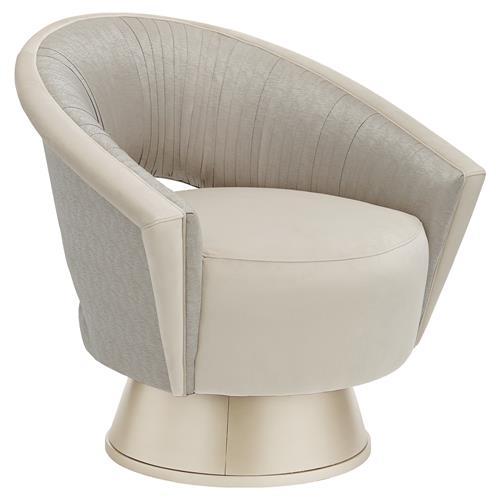 Isabella Mid Century Modern Ivory Velvet Grey Accent Round