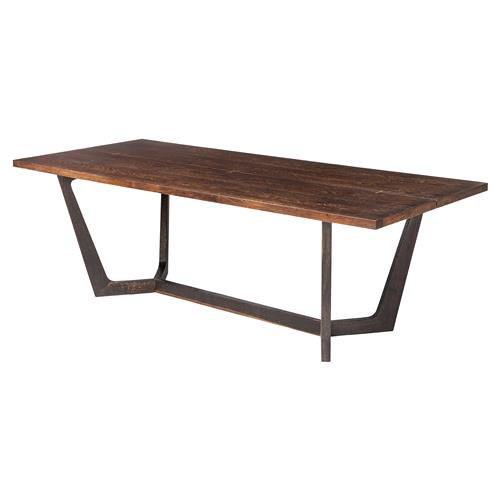 Jaxon Industrial Loft Rustic Burnt Oak Wood Dining Table Dining