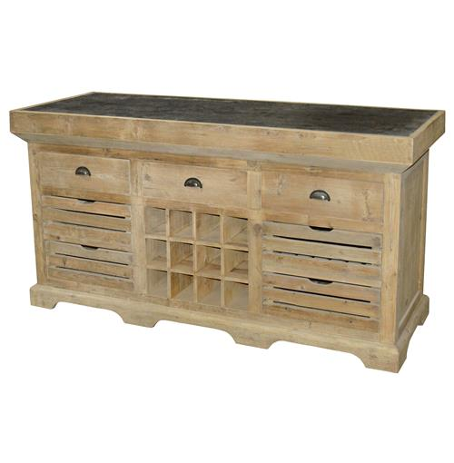 Jean French Country Reclaimed Pine Blue Stone Kitchen Island