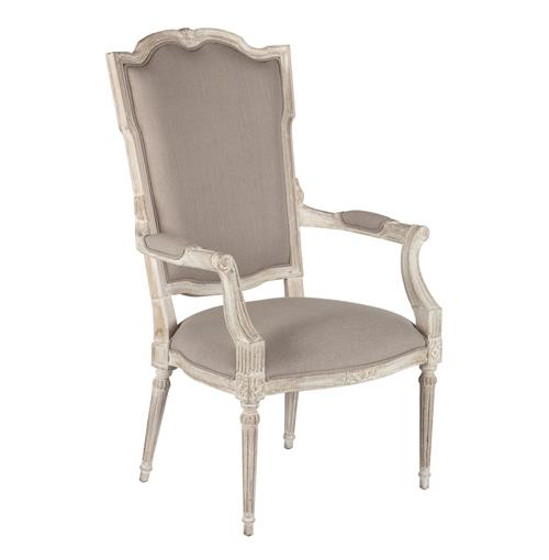 Josie Elegant French Country Bleached Oak Wood Arm Chair | Kathy Kuo Home