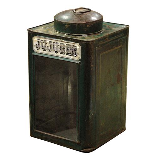 Jujubees Vintage Iron Candy Tin- Green | Kathy Kuo Home