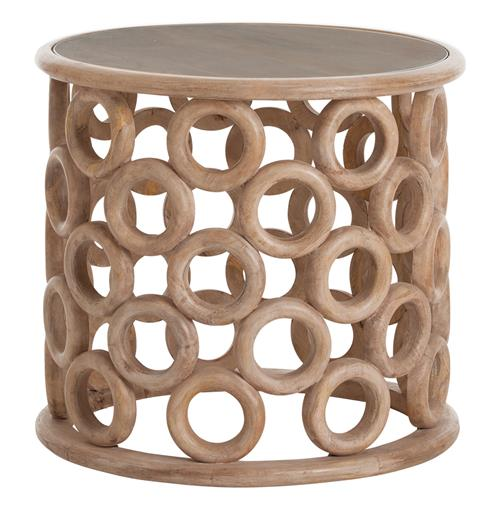 Kamai Hand Carved Wood Glass Topped Side Table