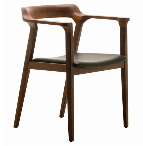 Midcentury Modern Dining Chairs: Katelyn Mid Century Modern Brown Walnut Leather Dining Arm