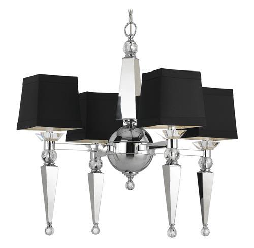 Kent Hollywood Regency Crystal Black 4 Light Chandelier