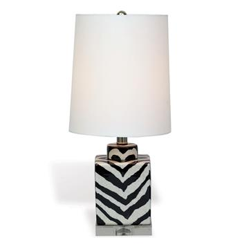 "Kenya Modern Black and White Zebra Print Tea Jar Table Lamp- 21""H"