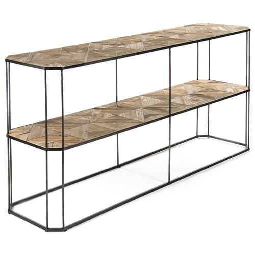 Kieran Reclaimed Wood Parquet Industrial Iron 2 Tier Sofa