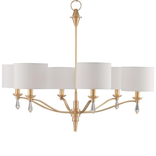 Current Obsession Lantern Chandeliers: Kim Modern Classic Brushed Gold Crystal Finial 6 Light