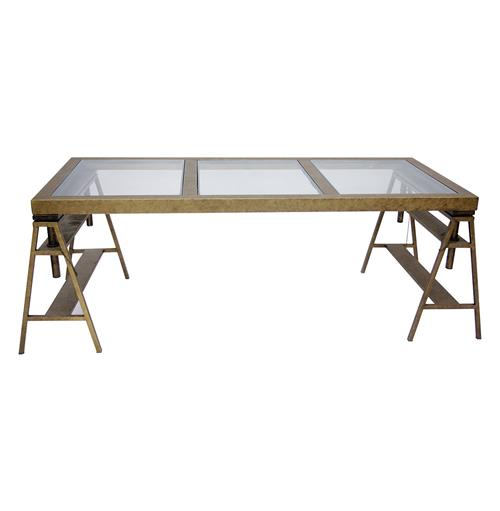 Rollins Industrial Loft Bronze Iron Coffee Table Kathy Kuo: Kirk Industrial Style Antique Bronze Trestle Frame Desk
