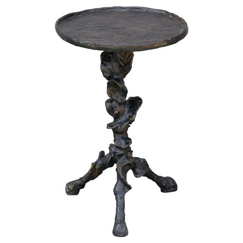 Rollins Industrial Loft Bronze Iron Coffee Table Kathy Kuo: Klemm Oly Antique Bronze End Table - 23.75H