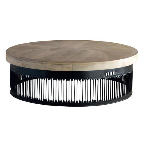 Krassa Industrial Loft Chunky Wood Round Coffee Table 48 D