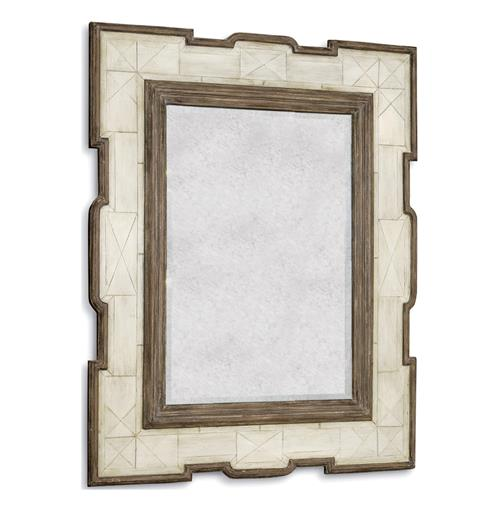 La Gare French Rustic Tribal Bone Antique Wood Mirror
