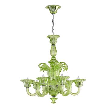 "La Scala 30""D Pale Green Murano Glass Style 6 Light Chandelier"