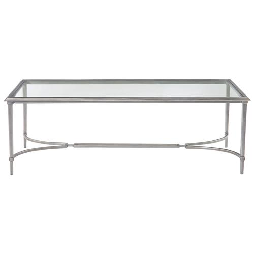 Silver Metal And Glass Coffee Table: Laeti Industrial Regency Antique Silver Glass Coffee Table