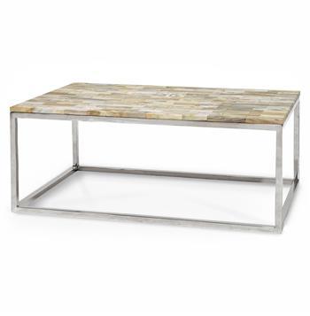 Lakota industrial loft petrified wood cream rectangular for Large cream coffee table