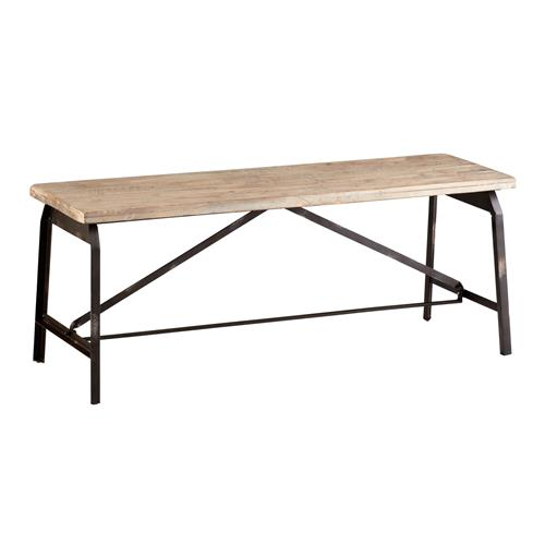 Laramie Modern Rustic Iron Solid Wood Industrial Bench | Kathy Kuo Home