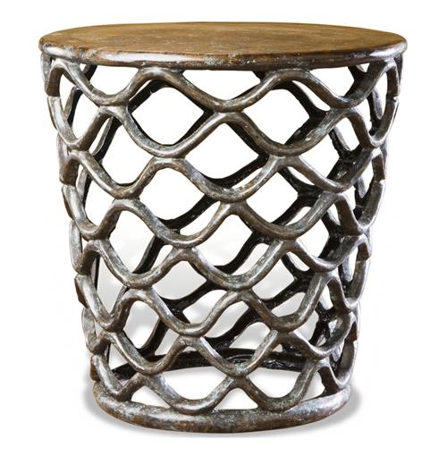 Lattice Accent Table-Rustic  French Antique Cast Brass Side Table | Kathy Kuo Home
