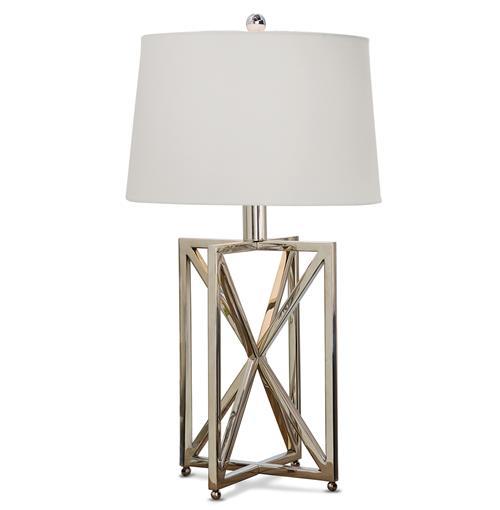 Leonardo Modern Silver Metal Geometric Table Lamp Kathy
