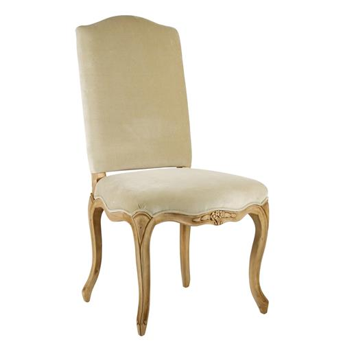 Light Gold Taupe Velvet French Country Style Cathy Dining Chair