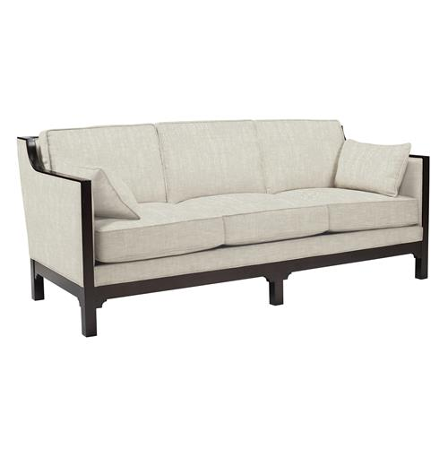 Lila Contemporary Straight Arm Exposed Dark Wood Sofa