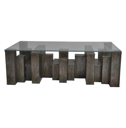Rollins Industrial Loft Bronze Iron Coffee Table: Lionel Industrial Loft Iron Building Blocks Glass Coffee Table