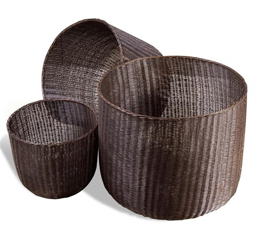 Lohman Contemporary Modern Metal Woven Mesh Baskets- Antique Bronze | Kathy Kuo Home