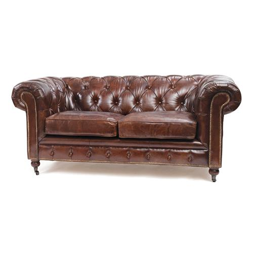 London Vintage Top Grain Leather Chesterfield Sofa Kathy