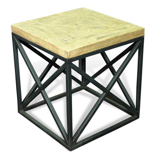 Longmire Modern Rustic Solid Wood Parquet Side End Table | Kathy Kuo Home