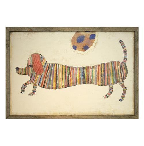 Love Dachshunds Hotdog Reclaimed Wood Vintage Wall Art | Kathy Kuo Home