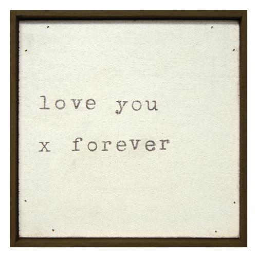 Love You X Forever' Vintage Typewriter Square Wall Art