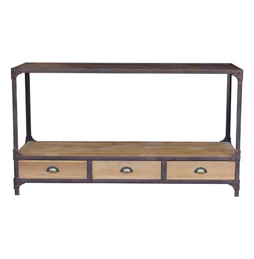 Luca Reclaimed Wood Rustic Iron Industrial Loft Console Table