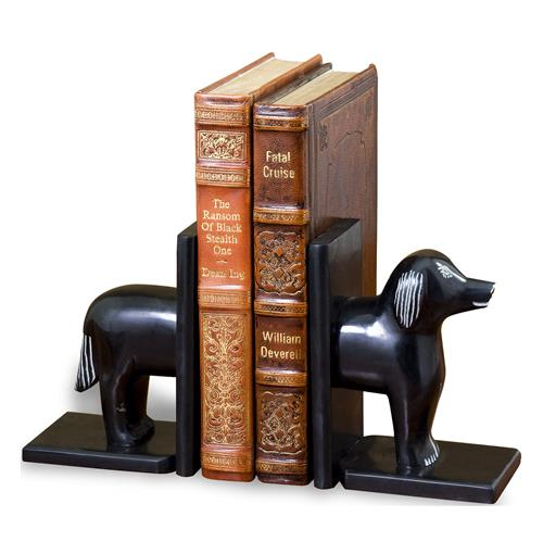 Lupa Whimsical Black Marble Dog Bookends