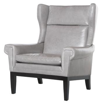 Lyto Mid Century Wing Back Masculine Gray Leather Accent Chair