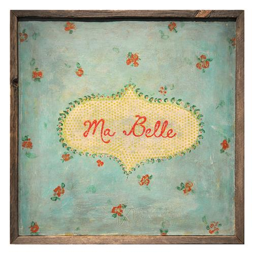 Ma Belle' Turquoise Red Painted Reclaimed Wood Frame Wall Art