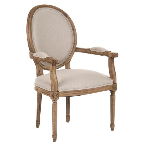Madeleine French Country Louis XVI Linen Oval Dining Arm Chair